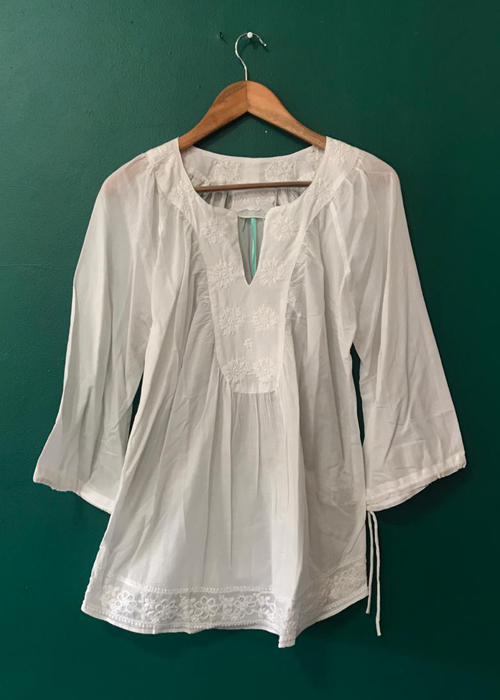 hand embroidered white blouse
