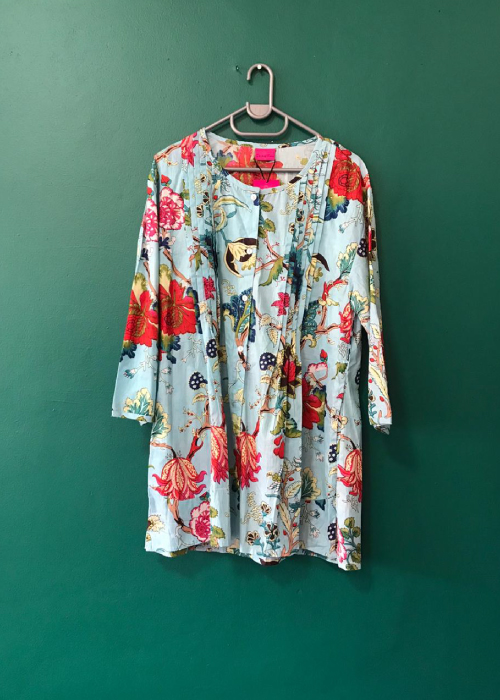 Scooped neck pale blue floral gypsy blouse